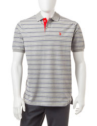 U S Polo Men's Feeder Striped Polo T-Shirt - Grey - Size: XXL