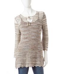US Sweaters Women's Tie Neck Space Dye Sweater - Neutral - Size: X-Large