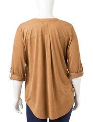 Signature Studio Women's Plus-size Faux Suede Popover Top - Blush - 1X