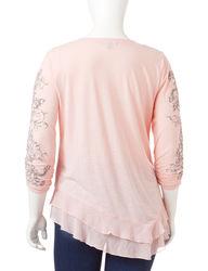 Signature Studio Women's Flocked Scroll Ruffle Top - Blushing Pink - 1X