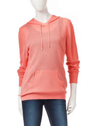 Cathy Daniels Women's Solid Color Hooded Sweater - Coral - Size: Medium