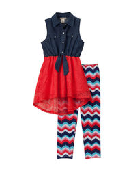 One Step Up Girl's 2 Pc Chambray Legging Set - Multi - Size: 7-8