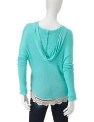 Ultra Flirt Women's Hacci Crochet Solid Color Hooded Top - Mint - Size: L