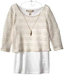 Speechless Big Girls' Cropped Top with Layering Tank- Ivory - Size: Large