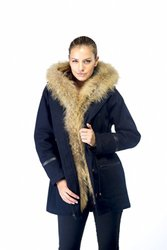 Happy Goat Lucky Adrianna Storm Coat With Fur Trim - Navy - Size: M