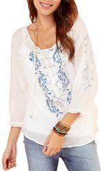 Vintage America Women's Embroidered Peasant Top - White - Size: Medium