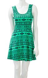 Wall Flower Junior's Cross Back Tank A-Line Skater Dress - Mojito - Size: Medium