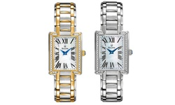 Bulova Women's Japanese Quartz Rectangle Bracelet Watch - Silver-Tone