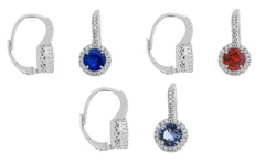 Women's Crystal Leverback Earrings with Swarovski Elements - Dark Blue