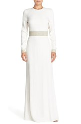Rachel Zoe Women's Crystal Embellished Cutout Gown - White - Size: 10