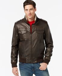 Tommy Hilfiger Men's Faux Leather Bomber Jacket - Brown - Size: XL
