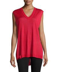 Catherine Malandrino Women's V Neck Sleeveless Sweater - R Red - Size: M