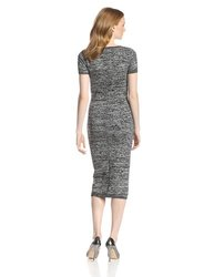 French Connection Women's `Short Sleeve Knit Dress - B/L Grey - Size: 12