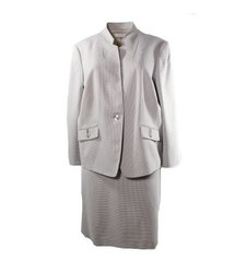 Tahari By ASL Women's 2-pc Houndstooth Skirt Suit - Beige - Size: 20W