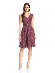 London Times Women's Lace Fit & Flare Dress - Wine - Size: 10