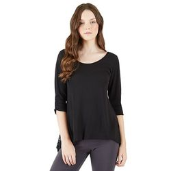 Juniors' IZ Byer California Sharkbite Lace Knit Top - Black - Size: Medium