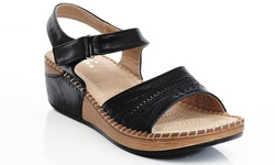 Lady Godiva Women's Comfort Wedge Sandal 2402-18 - Black - Size: 11