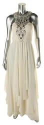 Sue Wong Layered Chiffon Necklace Gown - Ivory/Ivory - Size: 14