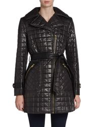 Via Spiga Belted Quilt Trench -Black - Size: Small