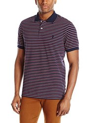IZOD Men's Short Sleeve Stripe Pique Polo - Midnight - Size: Large