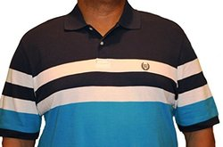 Chaps Men's Striped Short Sleeve Polo - Navy/White/Turquoise - Size: M