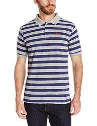 U.S. Polo Assn. Men's Striped Pique Polo Shirt - Heather Grey - Size: M