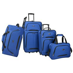 U.S Traveler Vineyard 4-Piece Softside Luggage Set  Blue