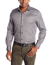 Axist Men's Solid Polished Twill Long Sleeve Shirt - Castlerock - Size: XL