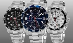 Stuhrling Original Men's Sport Chronograph Aquadiver Watch - Black