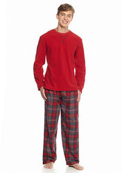 Izod Men's Long Sleeve Microfleece Top with Pant Set - Red Plaid - Size: L
