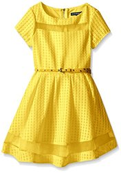 My Michelle Short Sleeve Checked Organza Pleated Dress - Yellow - Size: 16