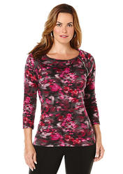 Rafaella Scoop Neck Printed Top Bright Magenta