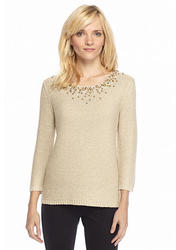 Ruby Rd. Petite Three-Quarter Sleeve Sweater - Ivy/Gold - Size: Medium