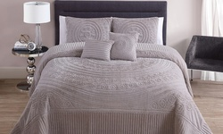 Hilltop Plush Bedspread 5 Piece Set - Taupe - Size: King