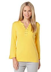 Rafaella Women's Grommet Embellished Knit Top - Yellow - Size: XL