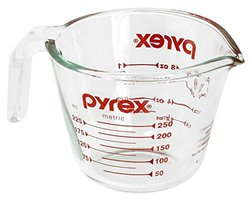 Pyrex Glass Measuring 1 Cup - Glass Red - Size: 8 Oz