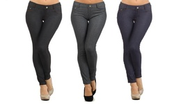 Women_s Regular/Plus Size Slimming Jeggings - Grey/Navy/Black - Size: M/L