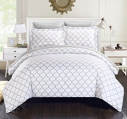 Chic Home 7 Piece Heather Geometric Diamond Printed Reversible Bed In A Bag Comforter Set With Sheet Set, Queen, Grey