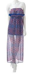 Pink Rose Junior's Corset Back Sheer Maxi Dress - Navy - Size: XL