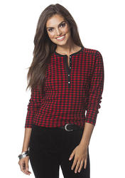 Chaps Checked Cotton Henley Top Red/Black