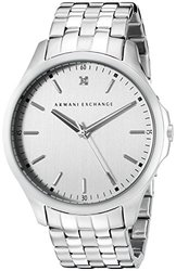 Men's Diamond Accent Stainless Steel Single Link Bracelet Watch - Silver