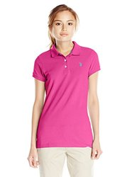 U.S. Polo Assn. Junior's Solid Pique Polo Shirt - Very Berry Pink - Size: Large