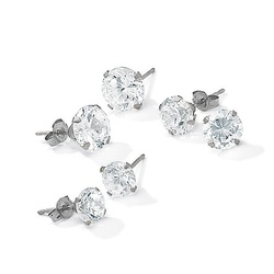 Sevil 2.0CTTW White Topaz Gemstone Stud Earrings - 14K Solid White Gold