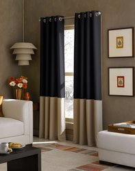 Curtainworks Kendall Color Block Grommet Curtain Panel 95 inch - Black