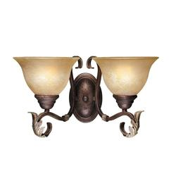 World Imports Olympus Tradition 2-Light Crackled Bronze with Silver Sconce