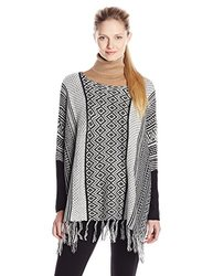 Jason Maxwell Women's Jacquard Poncho Fringed Sweater - Black/Egret - Size: M