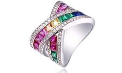 Swarovski Elements 18K White Gold Plated Rainbow Crystal X Ring - Size: 8