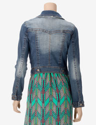 Fire Women's High-Back Jeans Jacket - Medium Blue - Size: Large