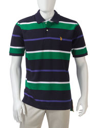 U.S. Polo Assn. Men's Large Striped Polo - Navy - Size: Medium
