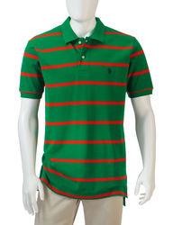 U.S. Polo Assn. Men's Multi-Striped Polo T-shirt - Dark Green - Size: M